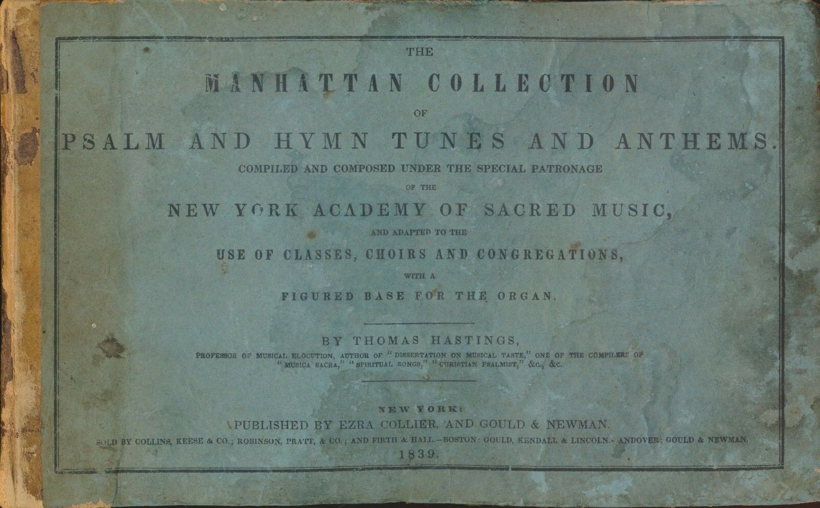 MANHATTAN COLLECTION OF PSALM AND HYMN TUNES AND ANTHEMS