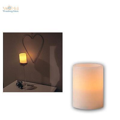 LED Kerze im Echtwachs-Mantel 10x7,5cm, flammenlose Wachs Kerzen flackernd LEDs