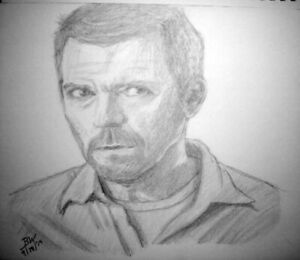 HUGH LAURIE DOCTOR GREGORY HOUSE HOSPITAL OXFORD ENGLAND LET THEM TALK DRAWING