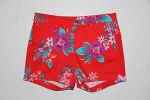 Nuevo Sin Etiquetas Old Navy Para Mujer Talla 8 Rojo Floral Pantalones Cortos De Todos Los Dias Ebay