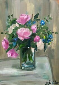 Print-of-Original-oil-painting-art-summer-flowers-impressionism-shabby-chic