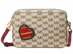 Image is loading MICHAEL-MICHAEL-KORS-PATCHES-POUCHES-MEDIUM-CHERRY-MK-