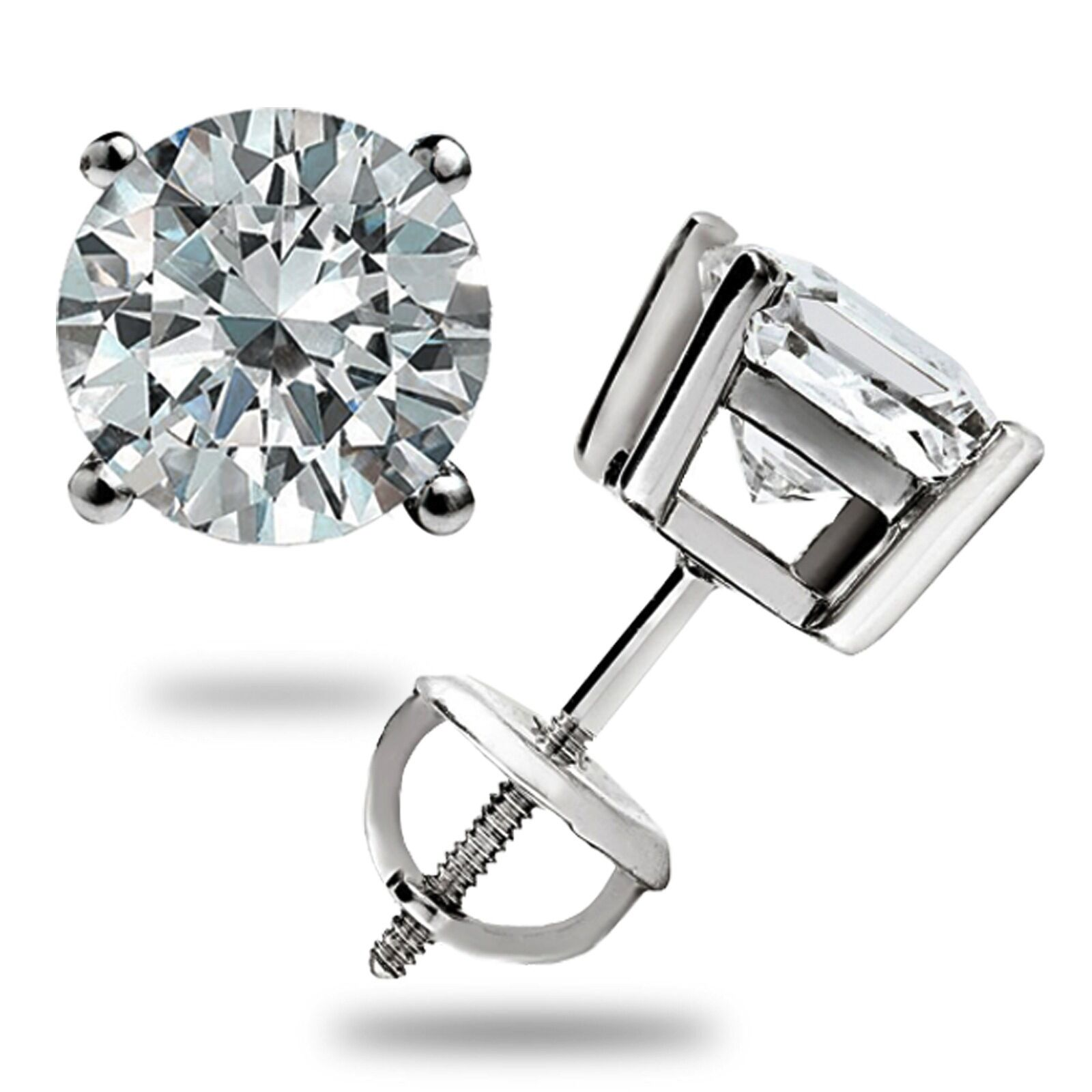 3 0 ct round cut basket screw back lab diamond earrings. Black Bedroom Furniture Sets. Home Design Ideas