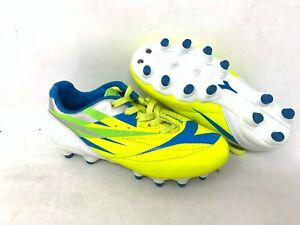 NEW-Diadora-Youth-Boy-039-s-Verona-2-Lace-Up-Soccer-Cleats-Yellow-Lime-Blue-A28-z