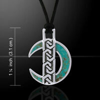 Celtic Moon Turquoise Corded Necklace Sterling Silver Necklace By Peter Stone