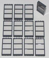 LEGO LOT OF 12 NEW DARK BLUISH GREY WINDOW FRAMES TRANS-CLEAR GLASS CITY HOUSE