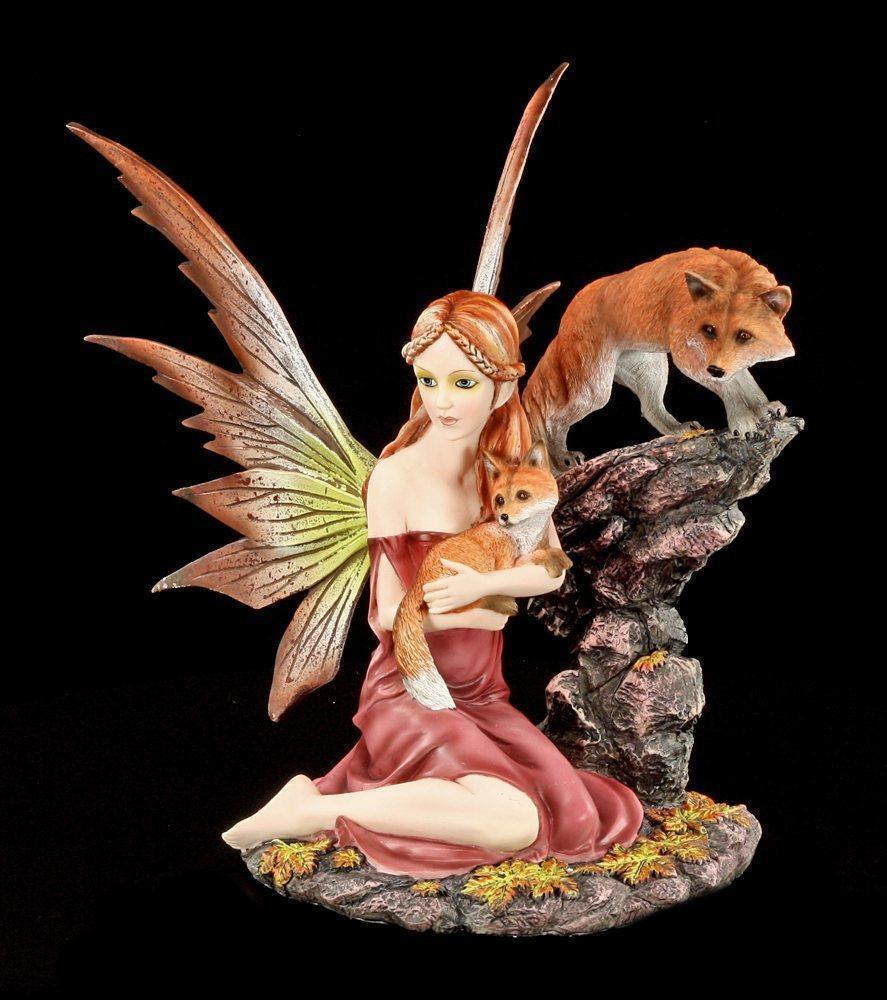 Figura Elfos - Mandara con Dos Raposos - Hada Bosque de Otoño Naranja