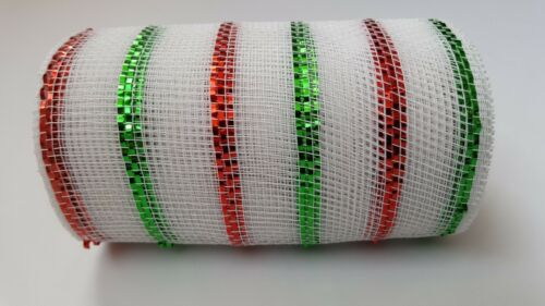 """6/"""" White with Red and Green Stripes Deco Mesh Ribbon"""
