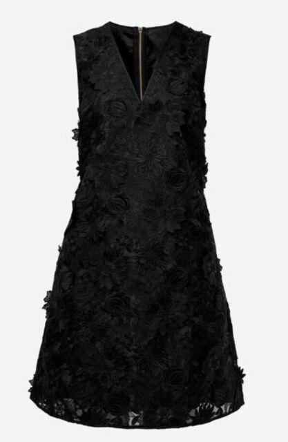 65159c071644 Sz 2 Ted Baker Soniah 3d Applique Lace V-neck Black Dress for sale ...