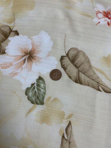 """Tela Impresión Floral Hoja De Color Beige 58/"""" vestidos ropa Georgette Artesanía Vintage"""