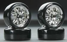 Type2 Chrome Wheels With Hard Drifting Tires 1/10th Scale 26mm (4pc) RC Drift