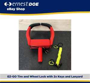 EZGO Wheel and Tire Clamp With Lock, 2x Keys and Lanyard | Genuine EZGO