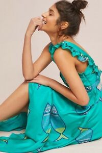 Anupamaa-Summer-School-Dress-Size-14-Fish-NWT-Rare-Silk-Midi-Retail-228