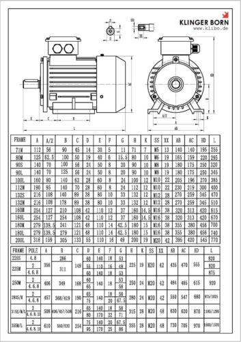 Drehstrommotor Energiesparmotor 1,1kW IE3 1430 U//min 3Ph-230//400V B3 4-polig