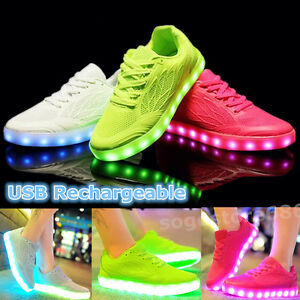 New Women LED Light Up Luminous Shoes Candy Color Casual Sportswear ... 9f356382b0