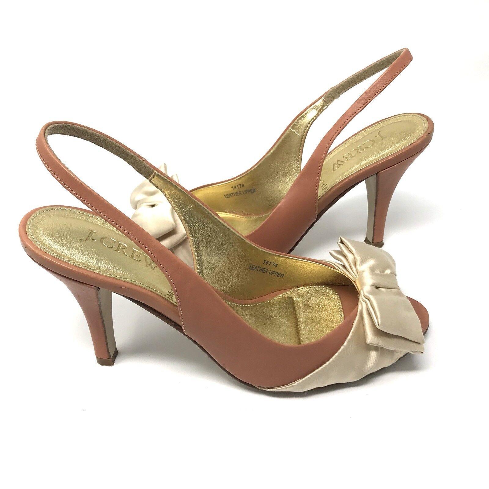 EUC Damenschuhe J. CREW 6 Soft Apricot Bowed Augusta Peep Toe Sling Back Heels 14174