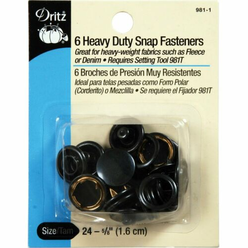 Black 6-Count Size 24 5//8-Inch Dritz 981-1 Heavy Duty Snap Fasteners