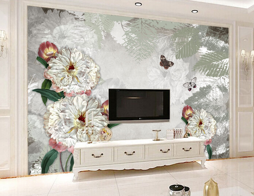 3D grau Leaf Flowers 8 Wall Paper Murals Wall Print Wall Wallpaper Mural AU Kyra