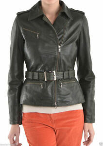 Leather Slim Wj261 Fit Jacket Biker Women Black Belt New Genuine Lambskin qnBZwRwt1