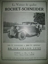 PUBLICITE DE PRESSE ROCHET SCNEIDER SIX 14 CV TOURISME 20 CV  AUTOMOBILE AD 1927