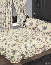 DOUBLE BED FRILLED DUVET COVER SET FLORAL CREAM IVORY BLUE PINK VINTAGE FLOWERS