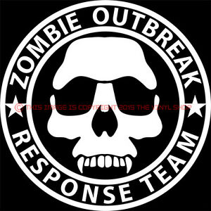 Zombie Skull Outbreak Response Team Decal Sticker Living