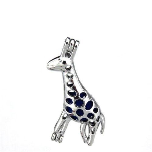 K173 5pcs//lot Silver Cute Cartoon Giraffe Locket Pendant Pearl Beads Cage Charm