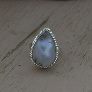 Natural-Dendritic-Agate-Gemstone-925-Sterling-Silver-Handmade-Gift-Ring-Size-7
