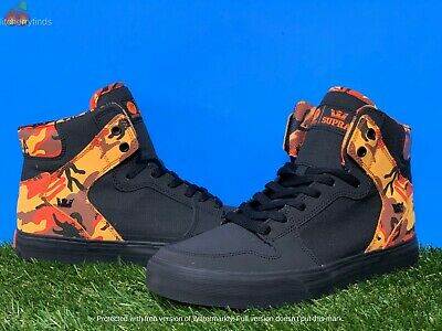 Supra Vaider 08204-039-M Mens Black Leather Surf High Top Skate Sneakers Shoes 8