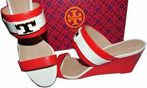 0e89fd5b5d5 Image is loading Tory-Burch-Maritime-Wedge-Slide-RED-Striped-Sandals-