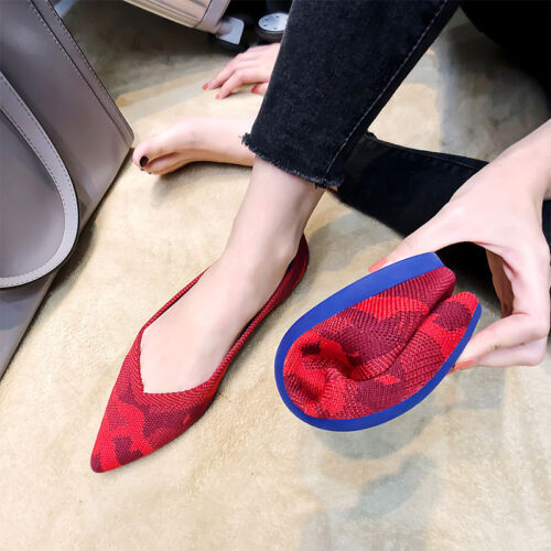 Womens Ballet Flats Shoes Knitted Comfort Pointy Toe Casual Soft Loafers Slip On