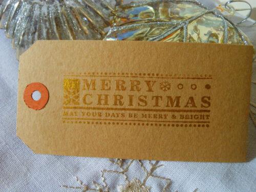 10 GOLD Merry Christmas   Christmas Gift Tags  Handmade Vintage Style