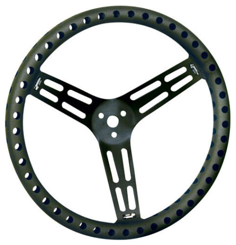"""NEW UNCOATED BLACK ALUMINUM RACING STEERING WHEEL,14/"""" DRILLED,DISHED,RACING"""