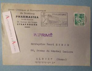 Enveloppe-1962-usines-PHARMASTRA-STRASBOURG-Cachet-Maison-radio-ALBERT-SOMME