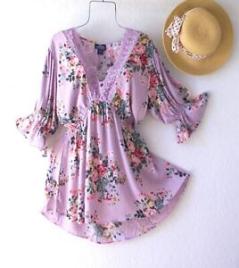 New~Angie~Lavender Rose Peasant Blouse Crochet Lace Spring Boho Plus Size Top~3X