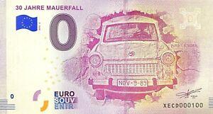 BILLET-0-EURO-30-JAHRE-MAUERFALL-ALLEMAGNE-2018-NUMERO-100
