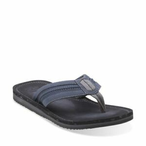Mens Clarks Riverway Sun Brown Or Navy Synthetic Toe Post Flip Flop Sandals