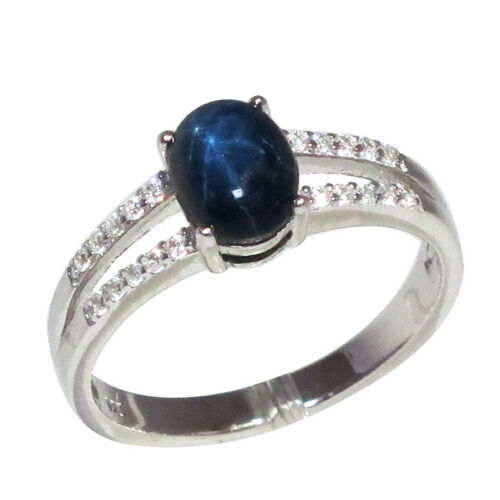 Lovely 1.5 Ct Genuine africain Star Sapphire STERLING 925 SILVER RING Taille 5-10