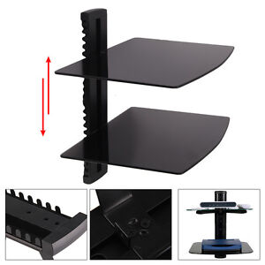 Image Is Loading Black 2 Tier Tempered Glass Adjustable Floating Shelves