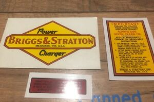 Briggs-amp-Stratton-engine-Power-Charger-antique-PC-100-3-Decal-Set