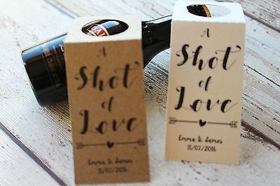 Rustic Wedding Favour Tag miniature bottle favour A shot of love-Alcohol favours