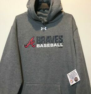 sports shoes 97622 c2f59 New Atlanta Braves Men's Hoodie UNDER ARMOUR Gray Hooded ...