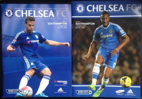 2 x CHELSEA vs SOUTHAMPTON Official Matchday PROGRAMMES 03102015 & 05122013