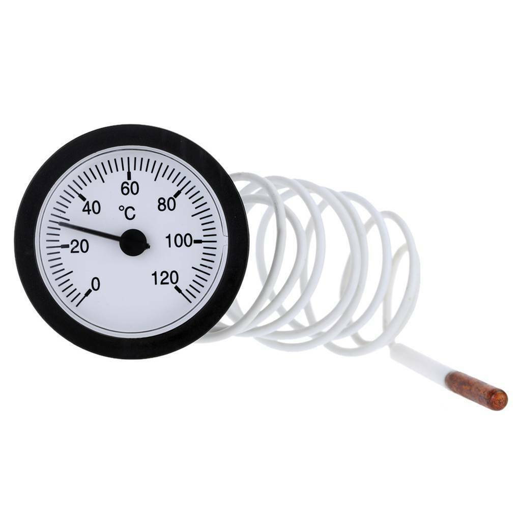 52mm Dial Thermometer Capillary Temperature Gauge 0-120˚ Fits Measuring Water M