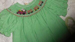 nwt-Rosalina-green-Christmas-Santa-train-smocked-bishop-dress-girl-2T-free-ship