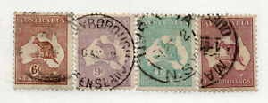 Australia-SG-107-110-Used-wmk-multi-Crown-A-Attractive-group-Lot-0720161
