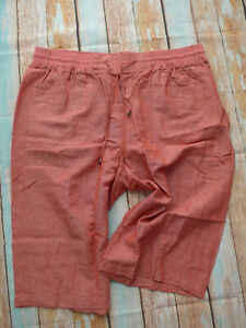 Sheego-Trousers-7-8-Bermuda-Ladies-Size-40-to-58-Rust-Red-Canvas-Part-861