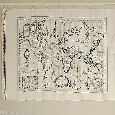 World Map Linen Fabric - World Map Curtain Panel Linen material 75 x 145cm