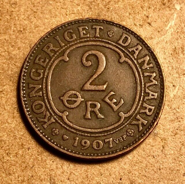 DENMARK - Frederik VIII - 2 Ore - 1907 VBP GJ - Extra Fine + - FREE SHIPPING!