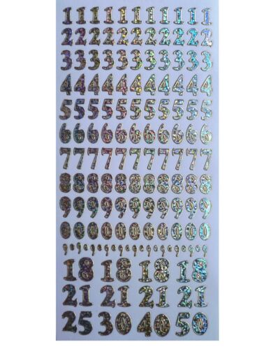 NUMBERS Peel Off Stickers 12mm Shimmer Foil 1 2 3 4 5 6 7 8 9 0 1.2cm Tall